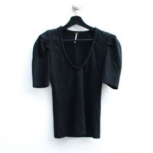 FREE PEOPLE XS Blk Structured Shoulder Plunge Top